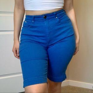 Bright Blue Long-Line Denim Shorts